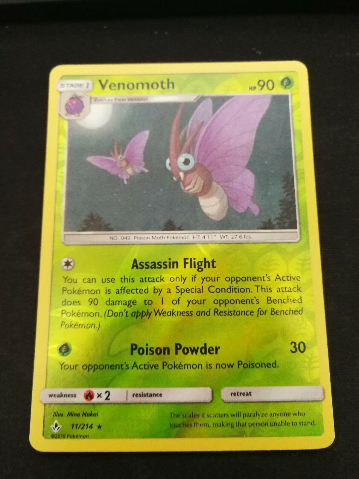 Pokemon Venomoth 11/214 Reverse Holo Rare Unbroken Bonds Near Mint