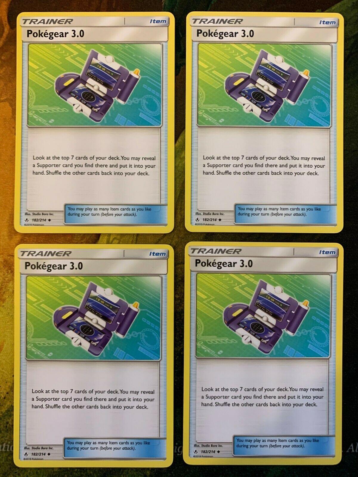 X4 Pokegear 3.0 182//214 Unbroken bonds trainer NM//M Pokemon