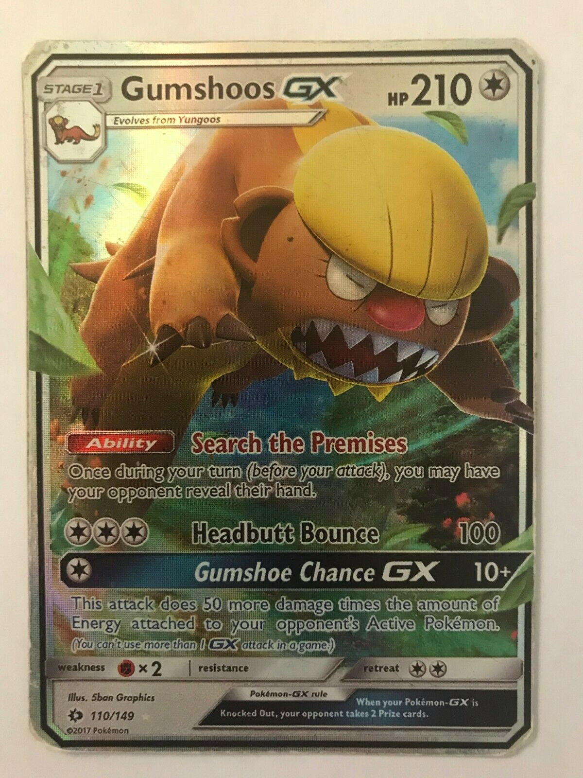 Pokemon Sun and Moon Gumshoos-GX 110//149 Ultra Rare Card