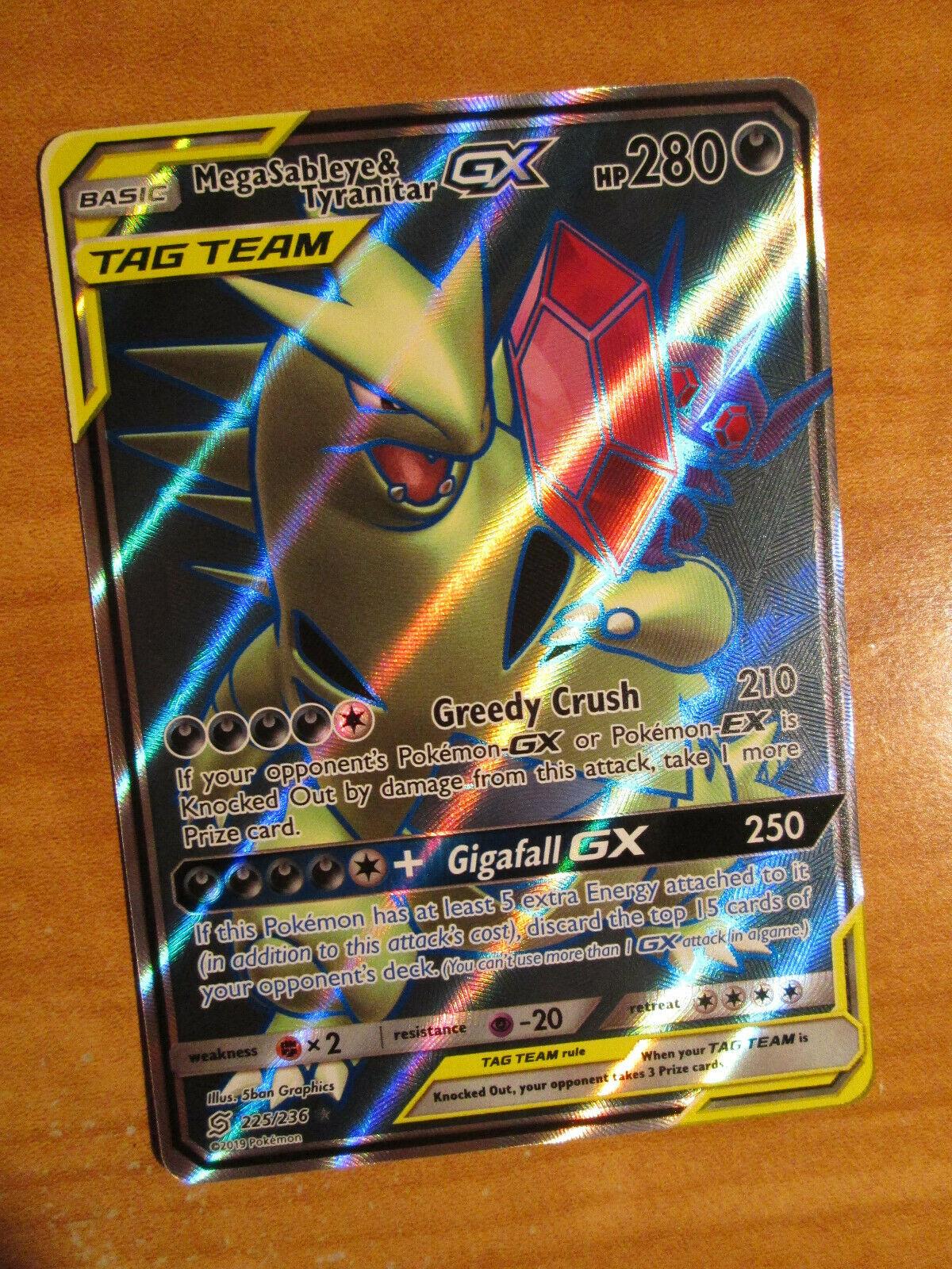 Pokemon card mega-ténéfix and tyranitar gx 225//236 harmony spirits 100/% neuv