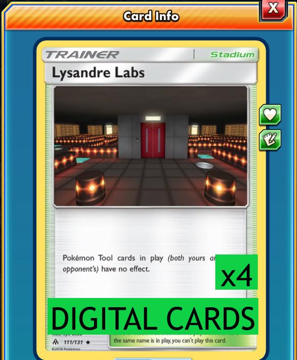for Pokemon TCG Online 2x Lysandre Labs DIGITAL ptcgo in Game Card