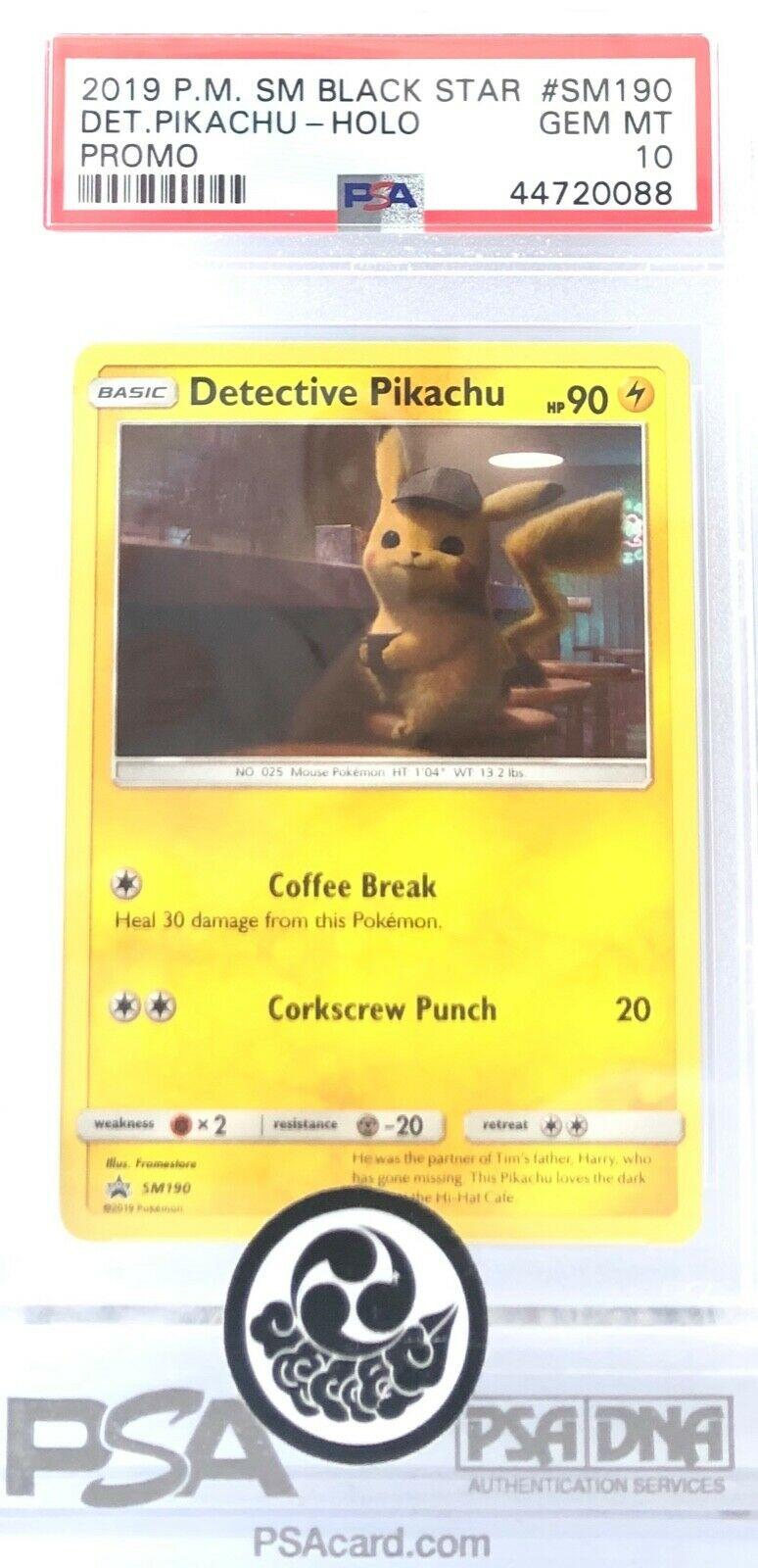 2019 Pokémon TCG S /& M Black Star Promo #SM190 Detective Pikachu Holo PSA 10 GEM