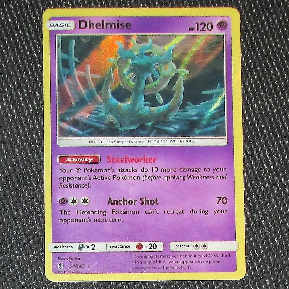 59//145 Reverse Holo Foil Rare Pokemon NM Card GUARDIANS RISING Dhelmise