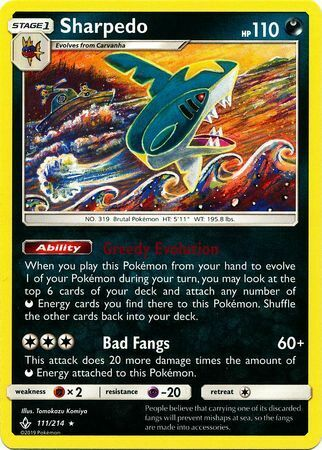 Sharpedo 111/214 - Rare Pokemon Card - Unbroken Bonds Set (2019) - NM