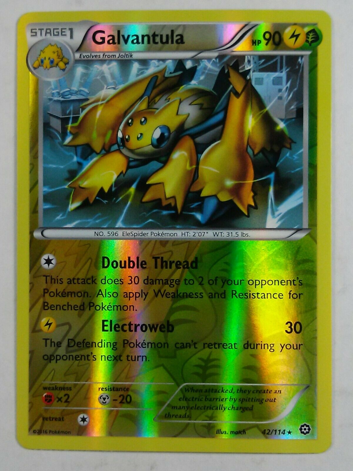 Galvantula 42//114 Steam Siege Rare Mint Pokemon Card