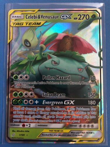 Celebi /& Venusaur GX ULTRA RARE NM//M SM Tag Team Up 1//181 Pokemon Sun Moon