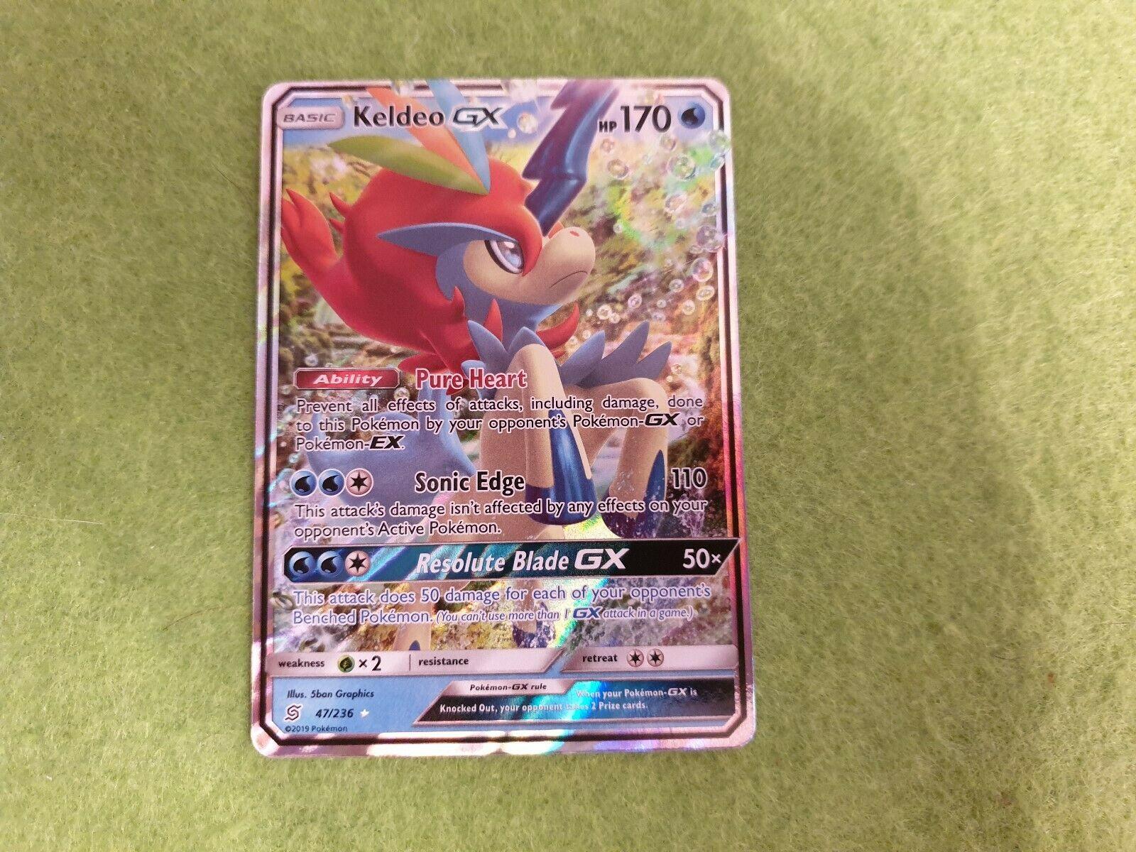 Pokemon TCG SM Unified Minds 47//236 Keldeo GX Holofoil Rare Card
