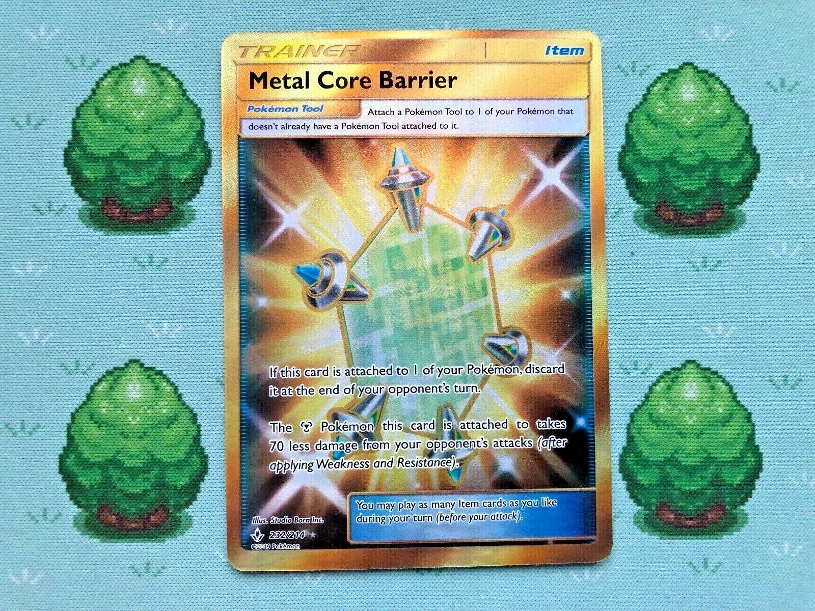 Secret Rare Pokemon 232//214 SM Unbroken Bonds Metal Core Barrier