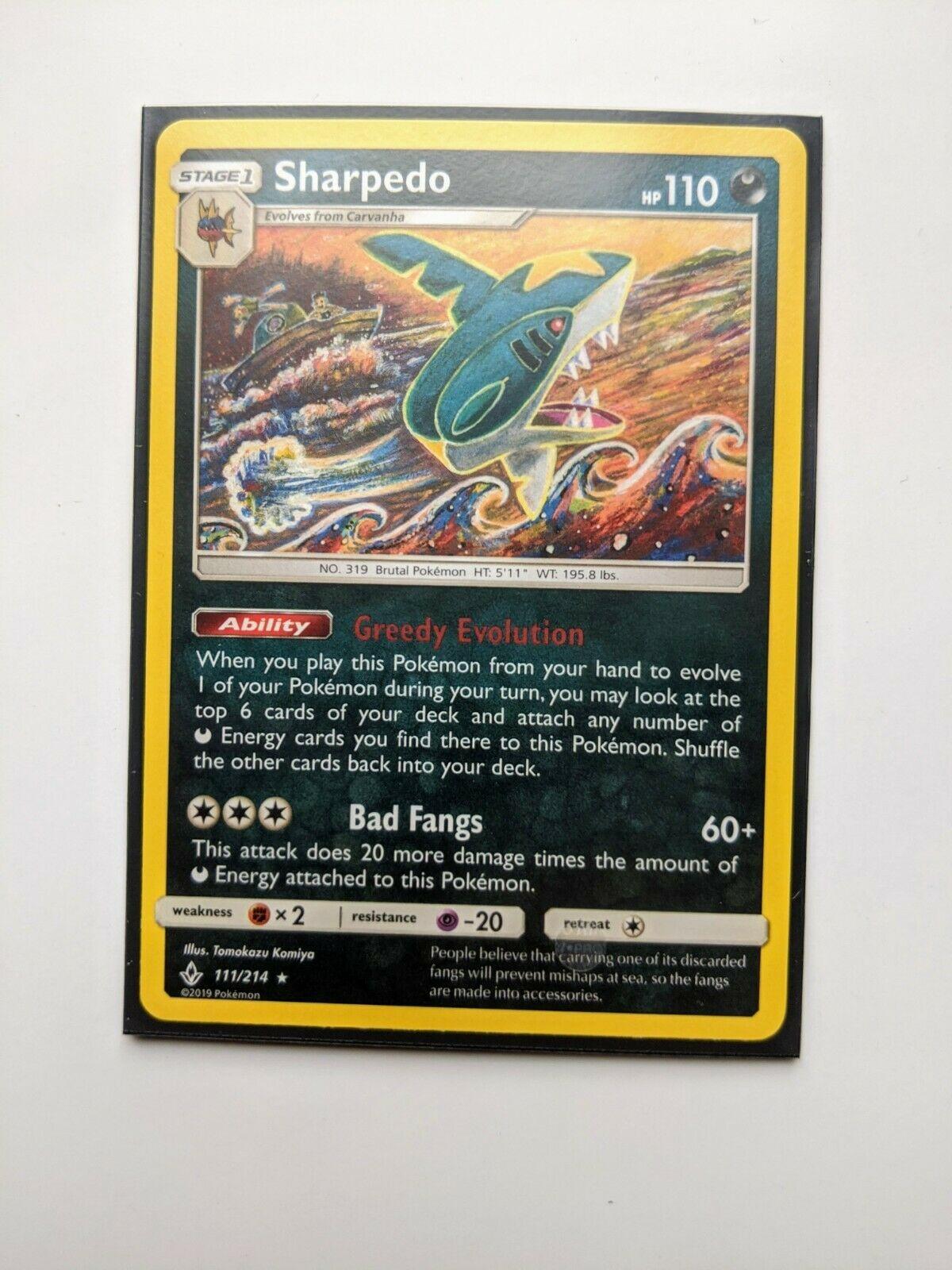 Pokemon TCG SM Unbroken Bonds 111/214 Sharpedo Black Star Rare Card