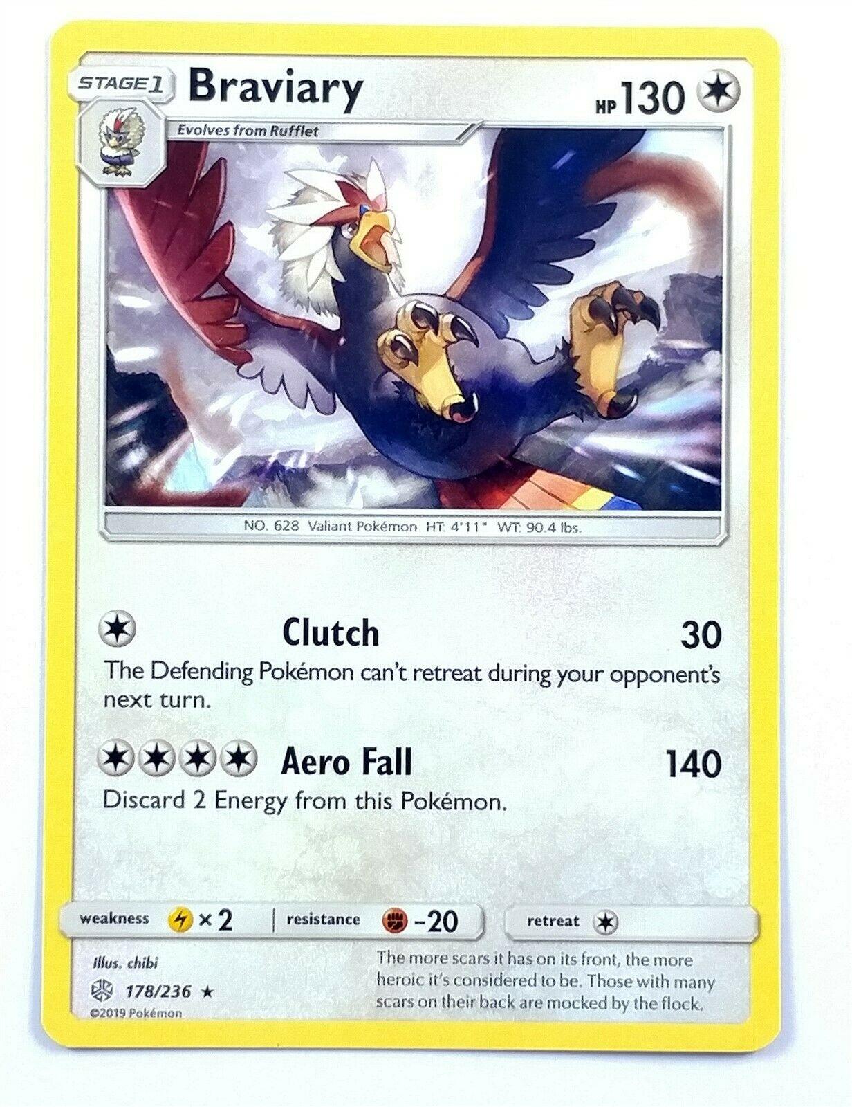 Pokemon Cards 4x Braviary 178//236 Playset Cosmic Eclipse NM//M