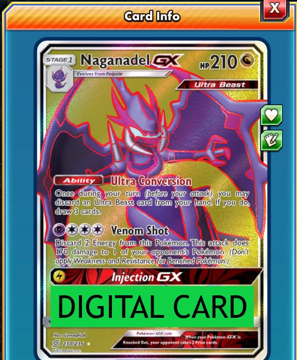 x1 Naganadel GX 230//236 Full Art Ultra Rare Pokemon SM11 Unified Minds M//NM