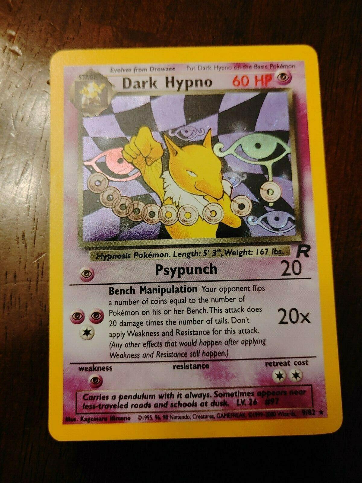 RARE DARK HYPNO 26//82 ORIGINAL TEAM ROCKET SET POKEMON CARD NEAR MINT WOTC