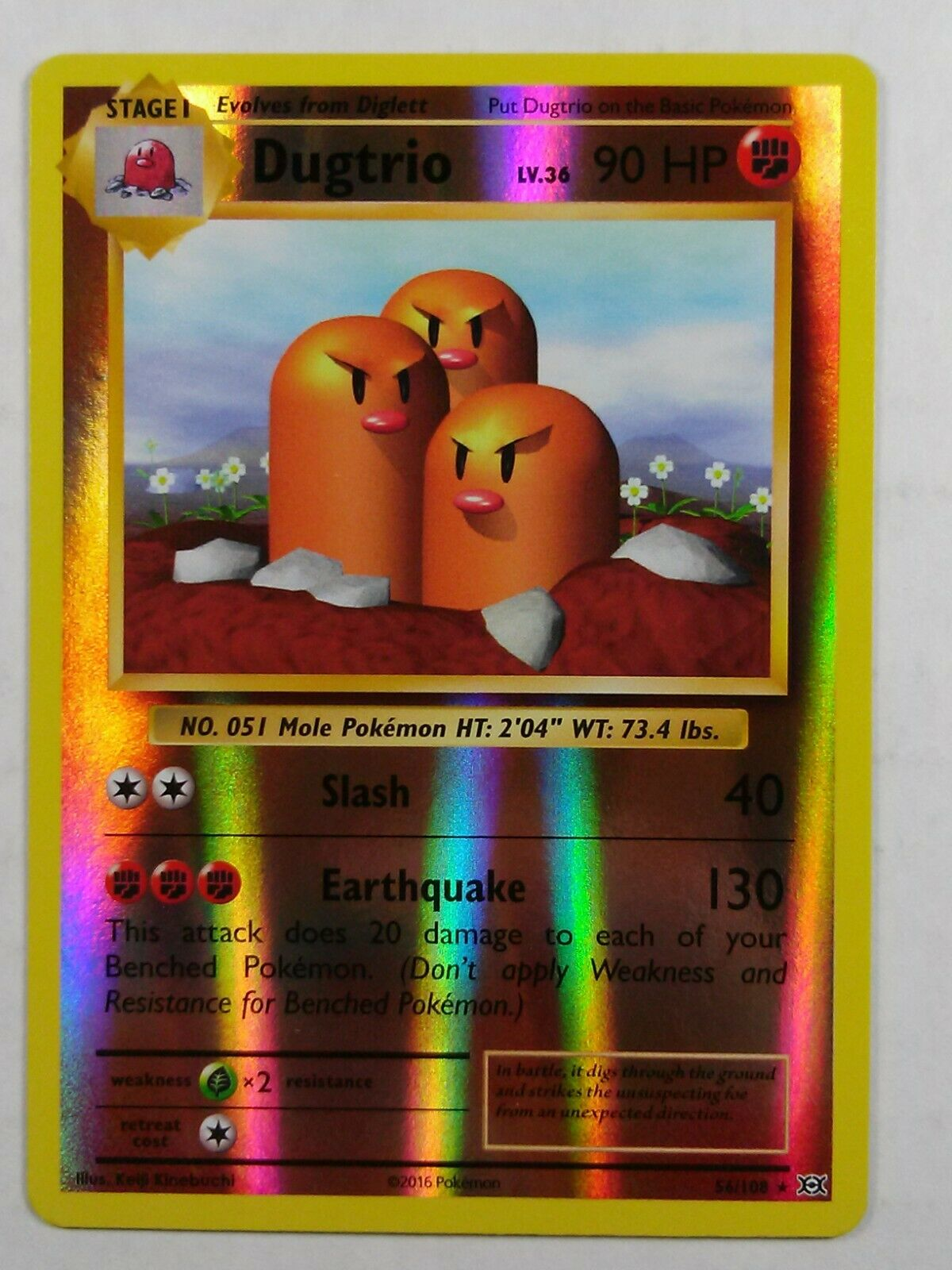 DUGTRIO LV.36-56//108 RARE POKEMON EVOLUTIONS CARD