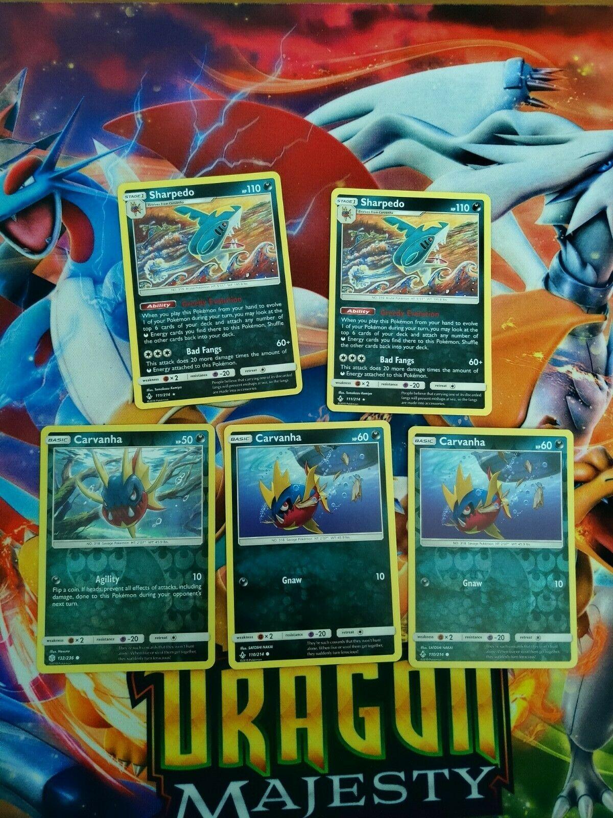 2x Sharpedo 3x carvanha reverse Holo 111/214 BRare Card Unbroken Bond NM