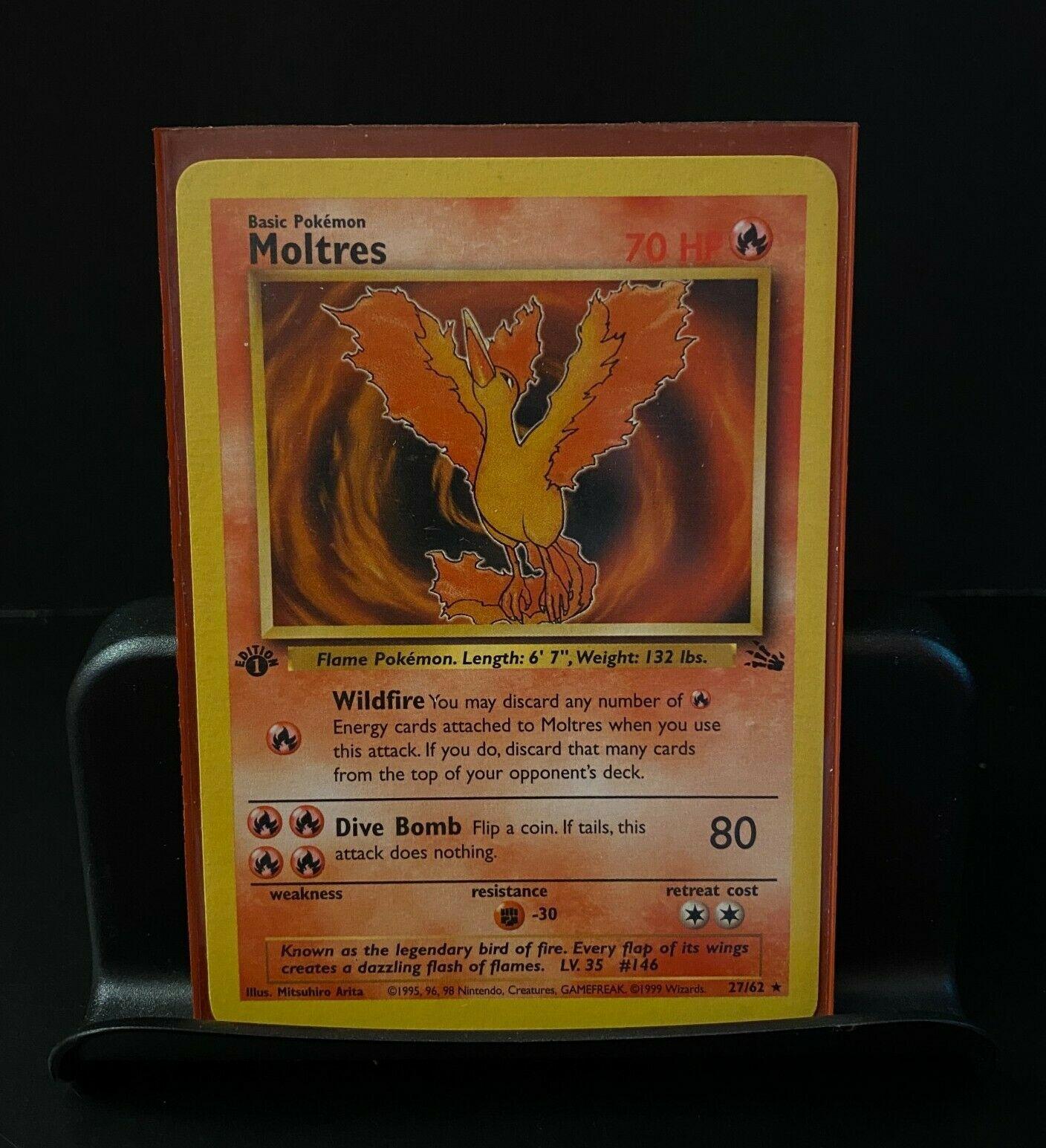 Moltres 27//62 Non-Holo Fossil Pokemon Card  Near Mint// Exc