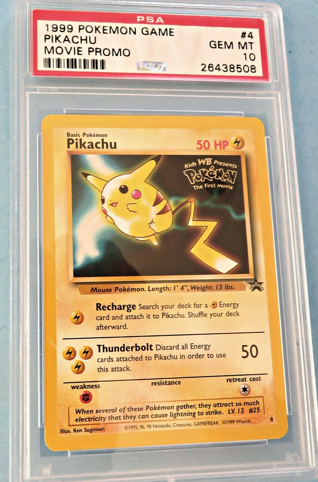 Pokemon Pikachu #4 Black Star Promo WB Stamped 1999 Movie Release WOTC NM//MT!!