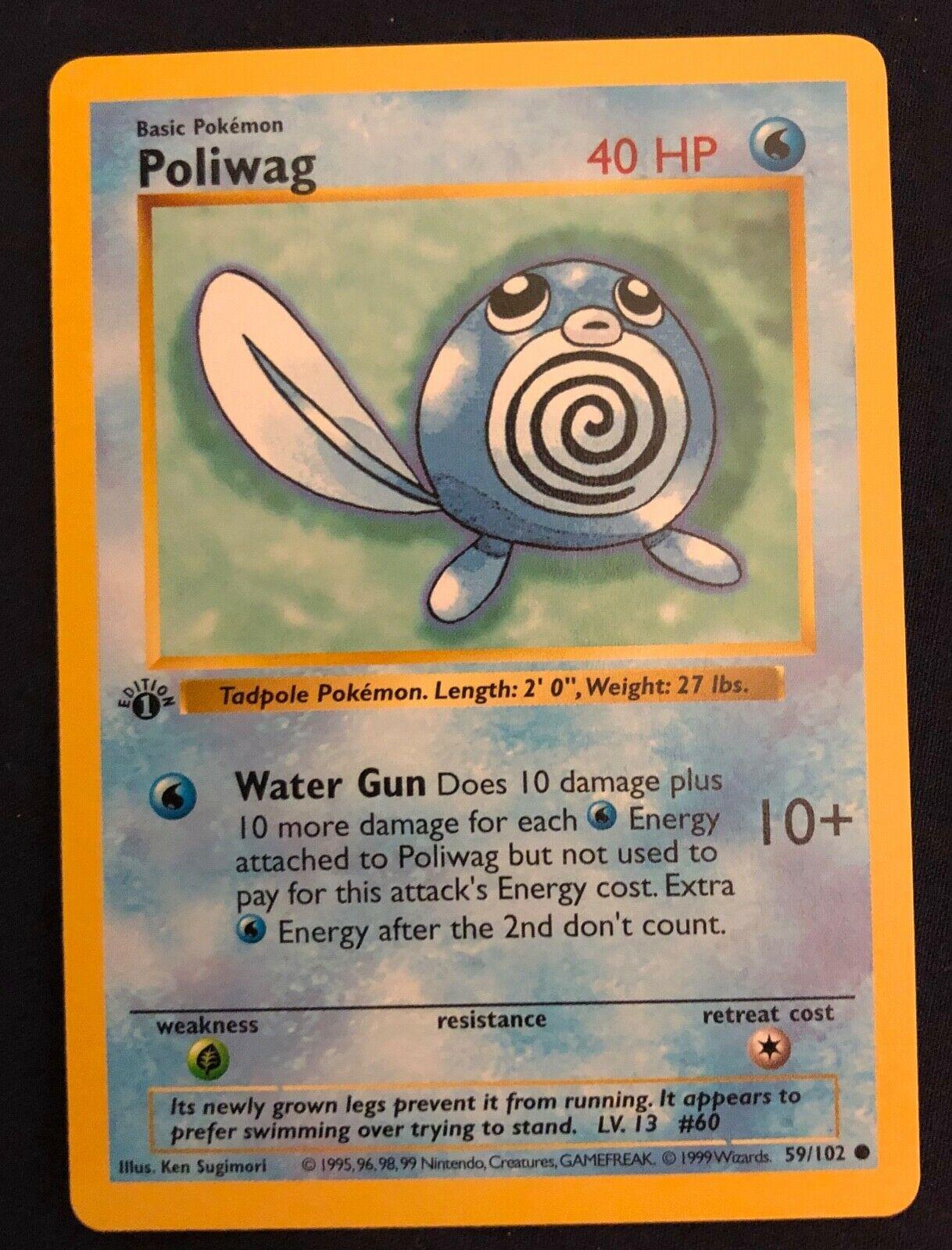 Pokemon Cards NM+ Poliwag #59//102 BASE 1st set 1999