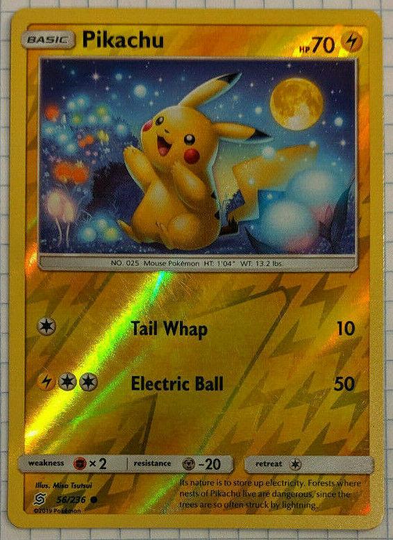 Pikachu 56//236 im 2er Set Common und Reverse Holo EN Unified Minds NM//Mint