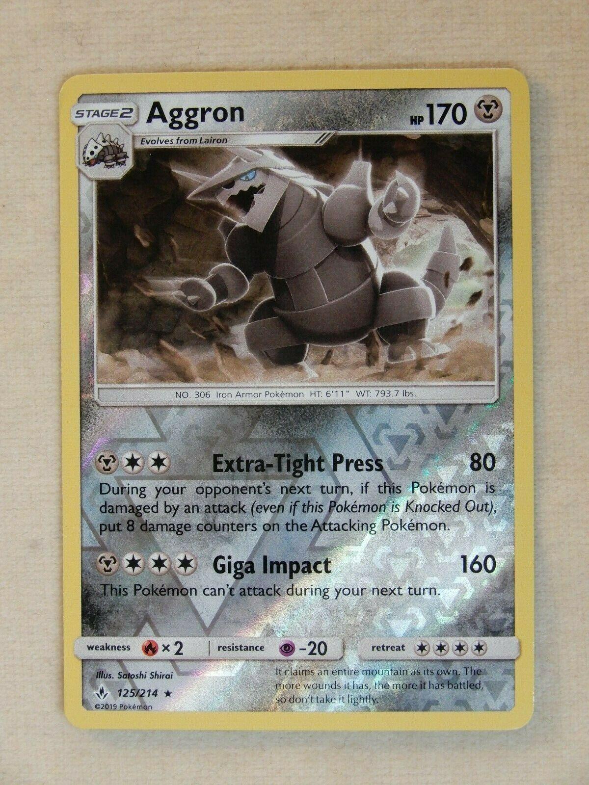 Pokemon Reverse Holo Rare * Aggron * 125/214 Unbroken Bonds TCG -MINT-