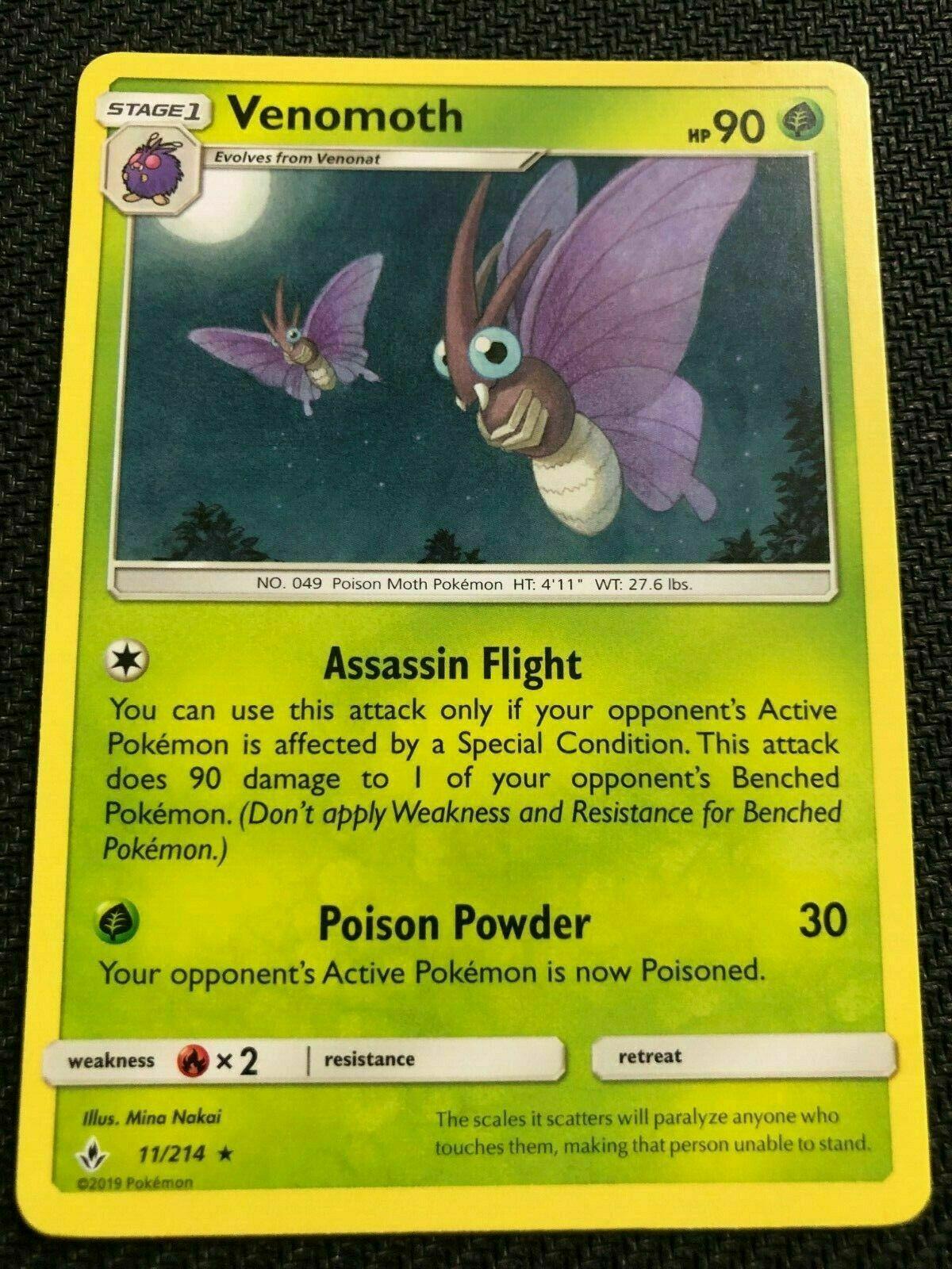 POKEMON 4X VENOMOTH 11/214 RARE  NM CARD UNBROKEN BONDS