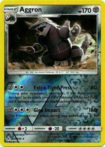 Pokemon AGGRON 125/214 RARE REVERSE HOLOFOIL NM CARD   UNBROKEN BONDS