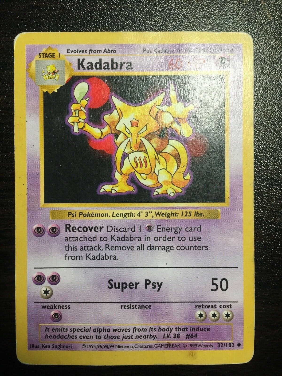 PSA 9 MINT Kadabra 32//102 PORTUGUESE Base Set Pokemon Card