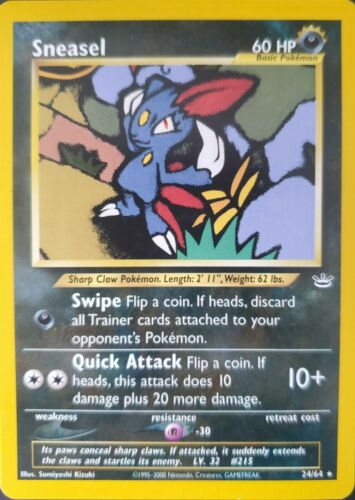 NM- Sneasel Pokemon Card 24//64 Neo Revelation Near Mint Minus Condition