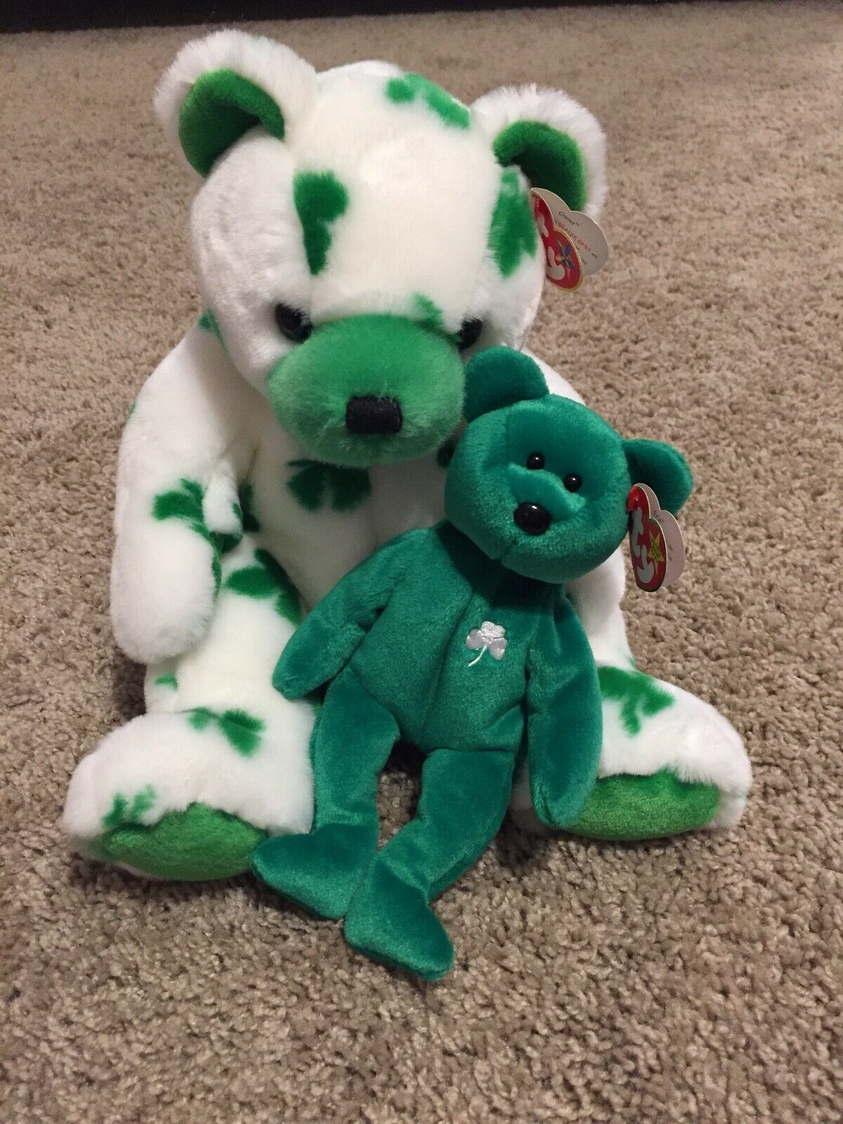 "Ty CLOVER the Irish Bear 7.5/"" St Paddie/'s Day Beanie Baby 2001 MWMT"