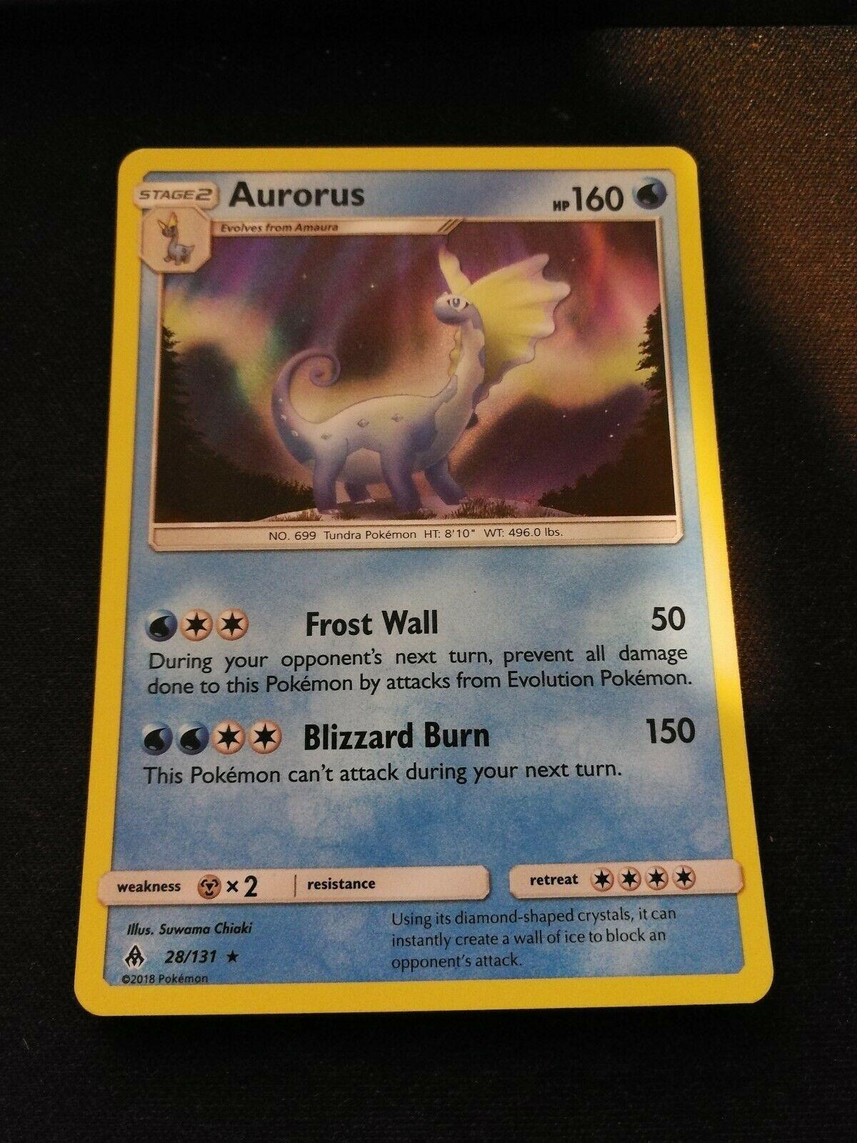 Pokemon 2X AURORUS 28//131 RARE HOLOFOIL MINT CARD  FORBIDDEN LIGHT