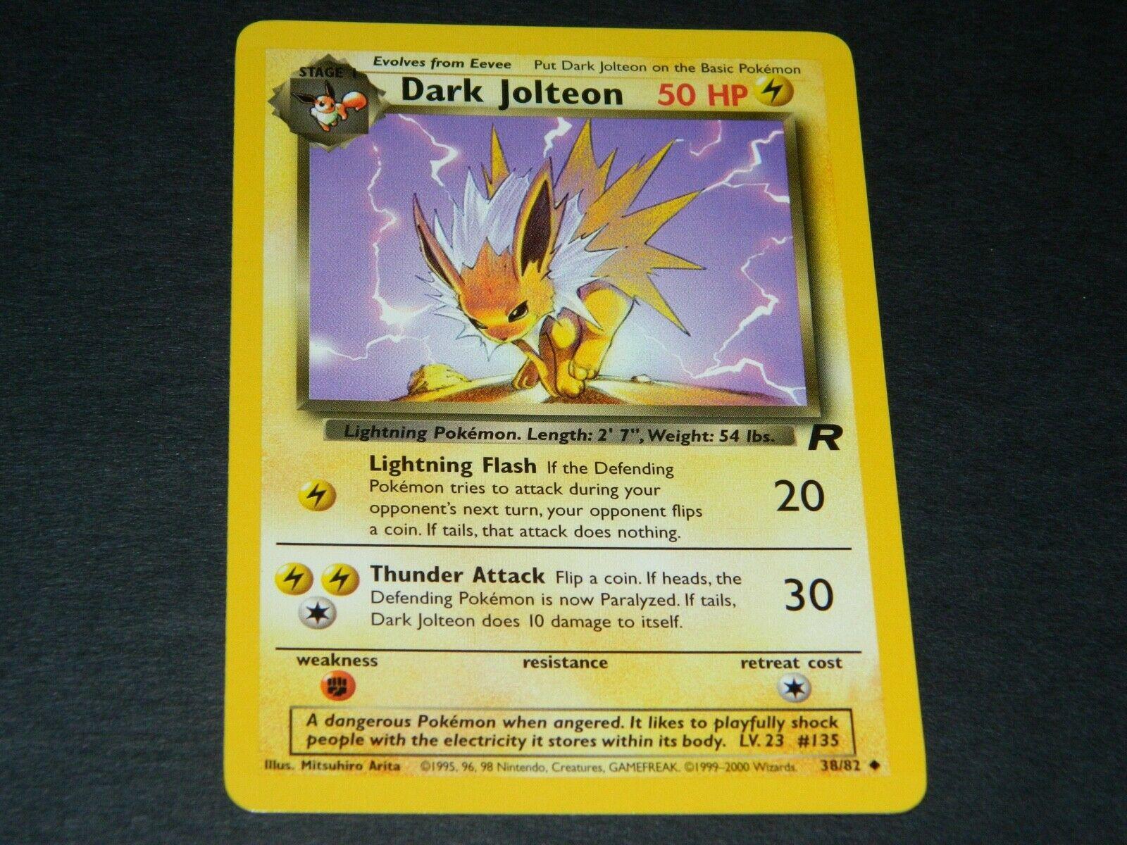 Sleeve NM Dark Jolteon 1st Edition Team Rocket Pokemon Card English 38//82