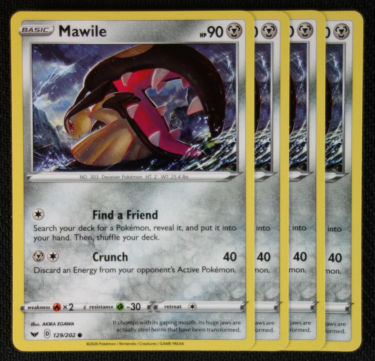 Pokemon Cards 4x Mawile 129//202 Playset Sword /& Shield NM//M