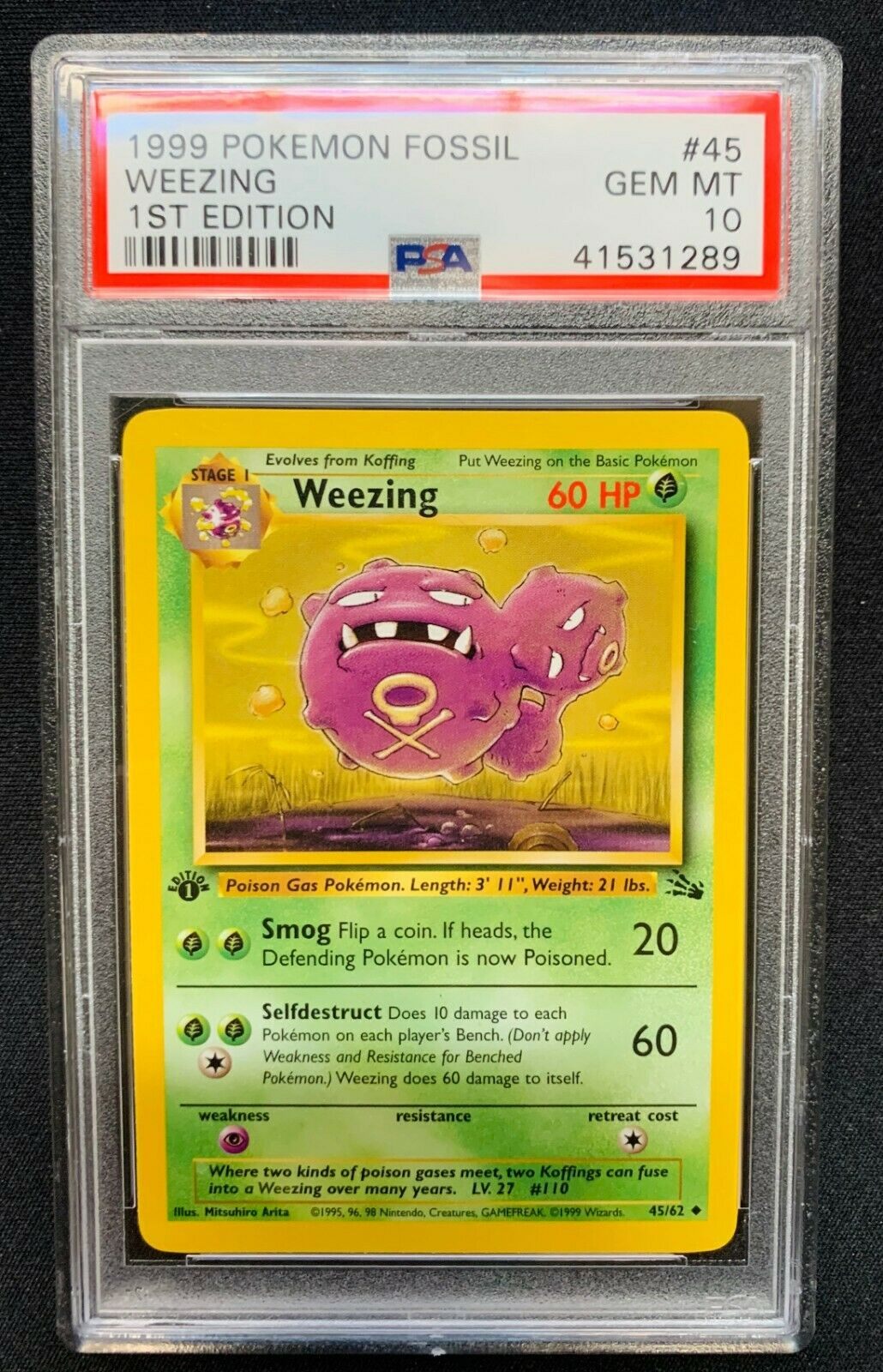 Pokemon 1st Ed Fossil Set UN-COMMON Weezing 45//62 NM//M Condition