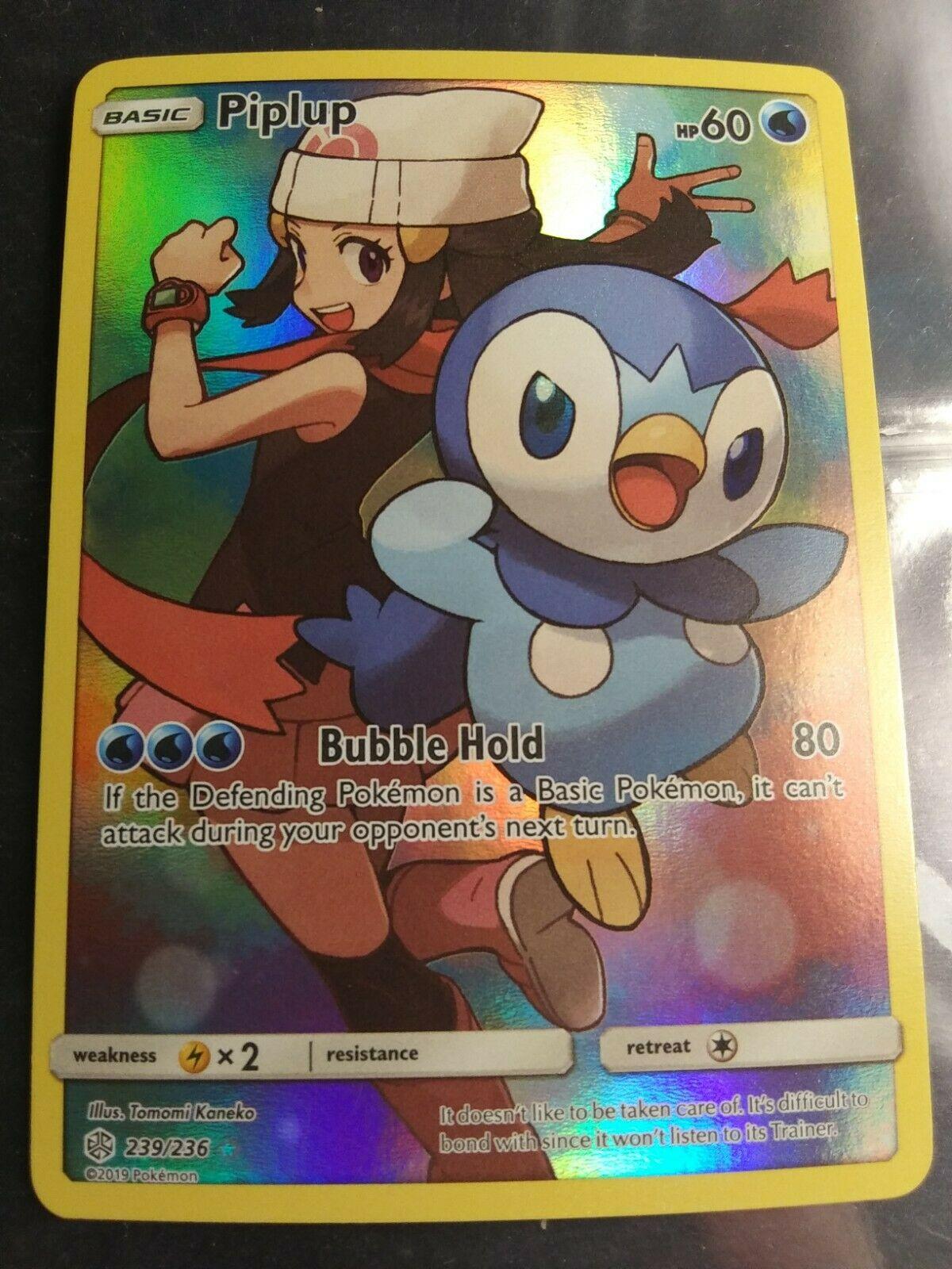 Piplup 239//236 Secret Rare M//NM Pokemon Cosmic Eclipse