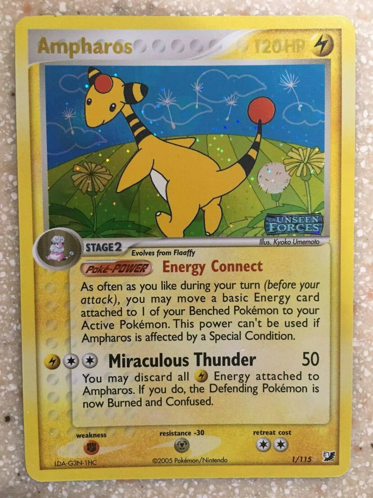 Holo Rare Reverse Holo Near Mint Ex Unseen Forces 1//115 Ampharos