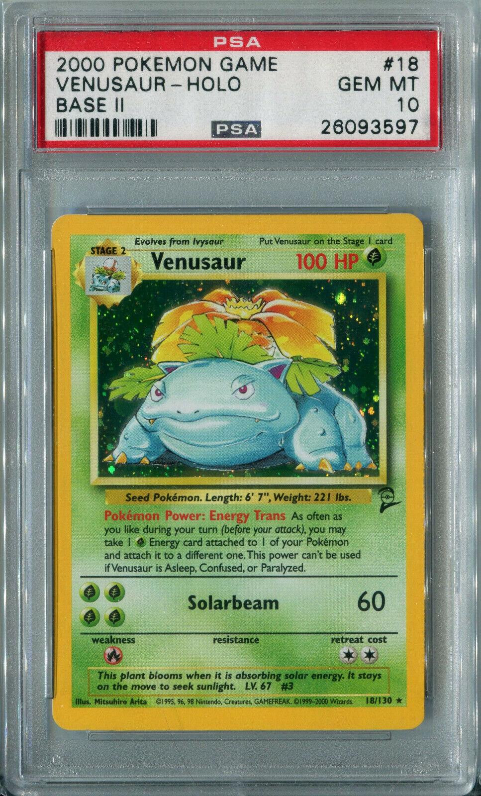 Pokemon Base Set 2 Venusaur 18//130 PSA 8 Holo Rare New Mint 2000 18//130