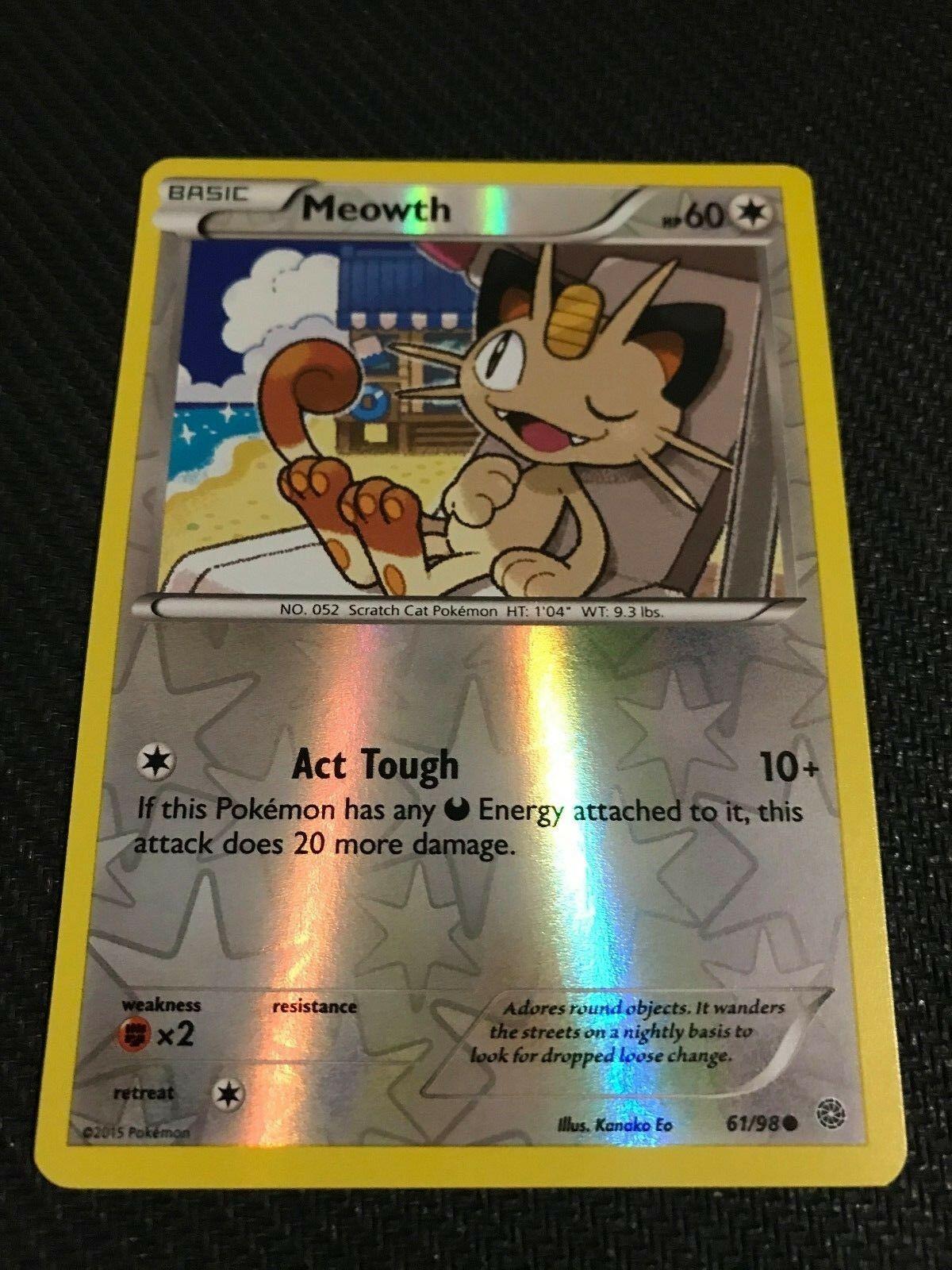 Meowth reverso común Holo Pokemon tarjeta Xy antiguos orígenes 61//98