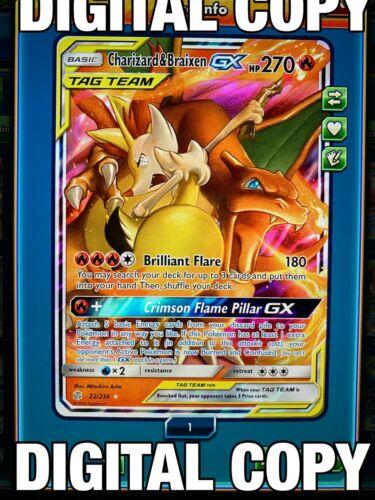 Charizard /& Braixen GX 22//236 Cosmic Eclipse Pokemon TCG Online Digital