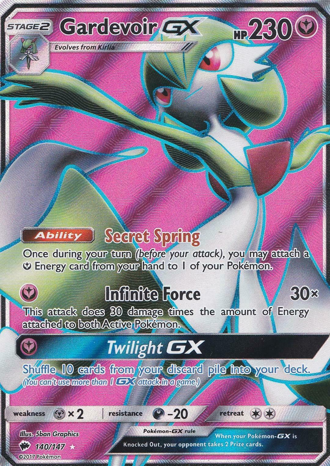 Pokemon Card   GARDEVOIR GX  Ultra Rare FULL ART 140//147 BURNING SHADOWS *MINT*