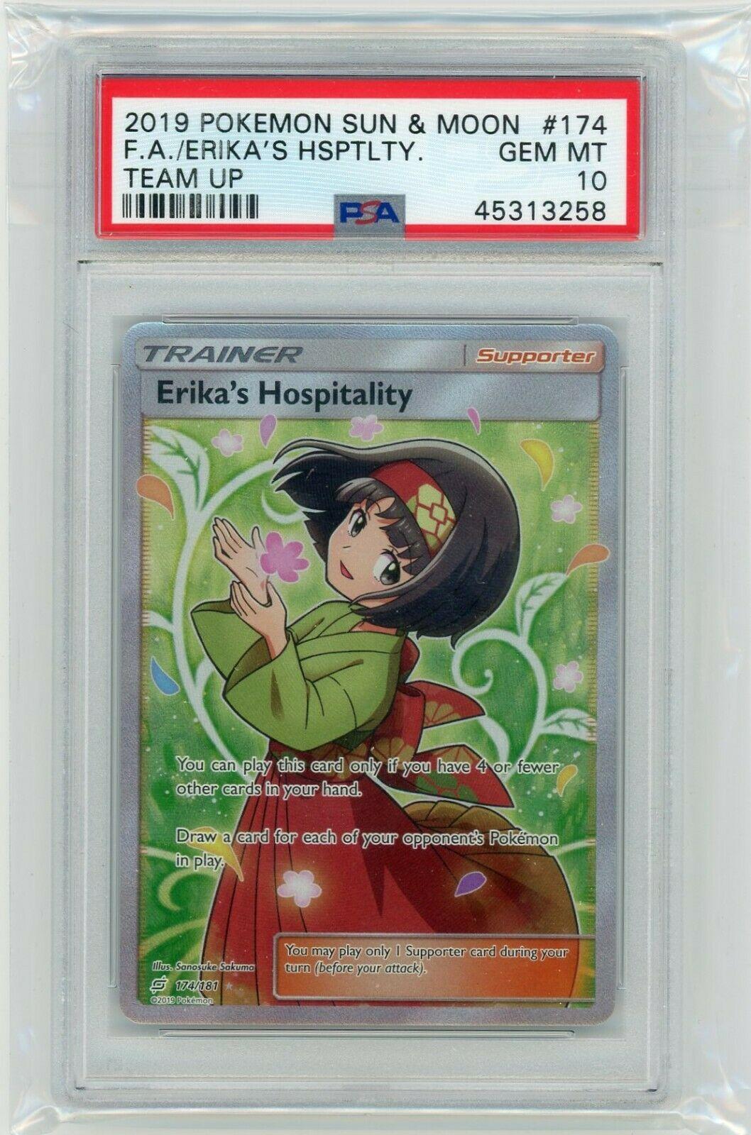 Pokemon Card PSA 10 Gem Mint ERIKA/'S HOSPITALITY 174//181 Ultra Rare Team Up