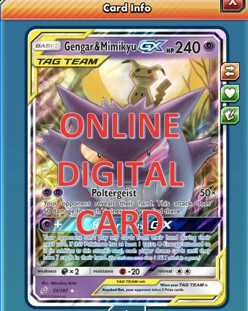 Gengar/&Mimikyu GX 53//181 Team Up for Pokemon Card Online TCG Digital