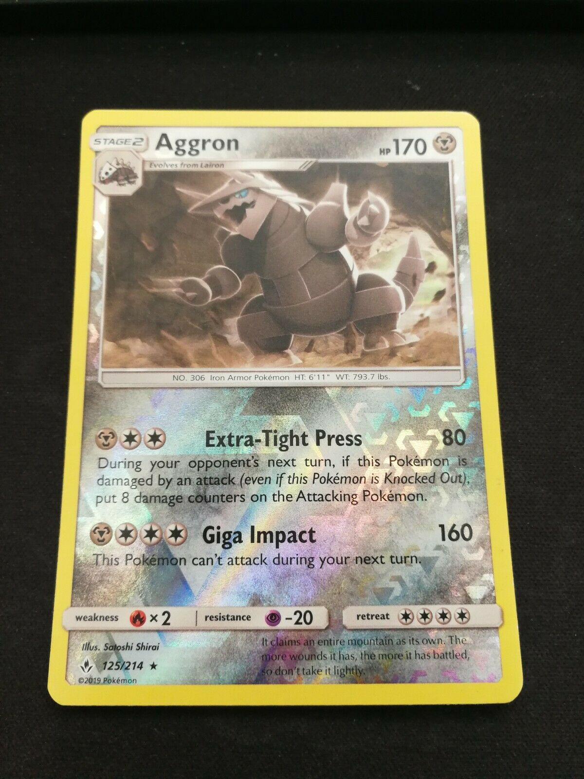 Pokemon Aggron 125/214 Reverse Holo Rare Unbroken Bonds Near Mint