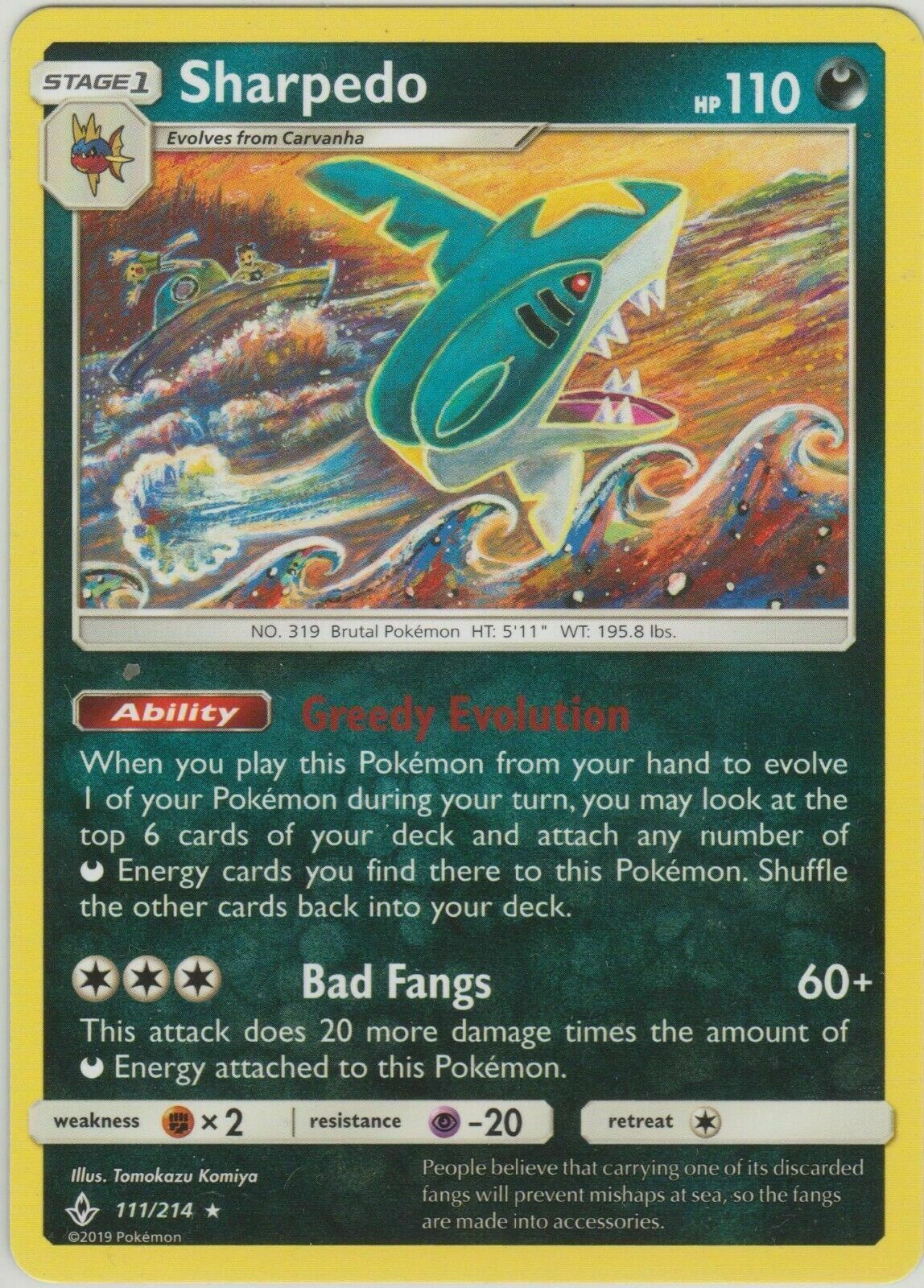 Pokemon 4X SHARPEDO 111/214 RARE  NM CARD UNBROKEN BONDS