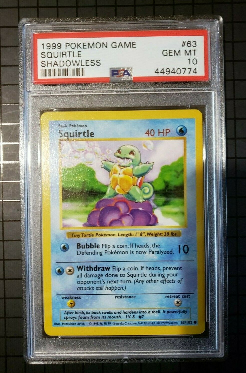 Squirtle #63//102 NM+ 1999 Pokemon Cards BASE Set