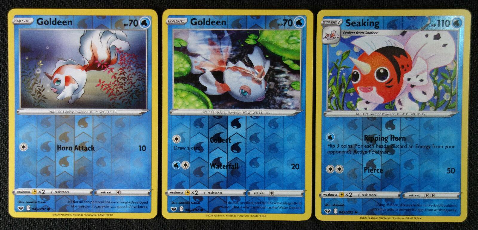 Base  Reverse Holo  Mint//NM Pokemon Goldeen  46//202 Sword /& Shield