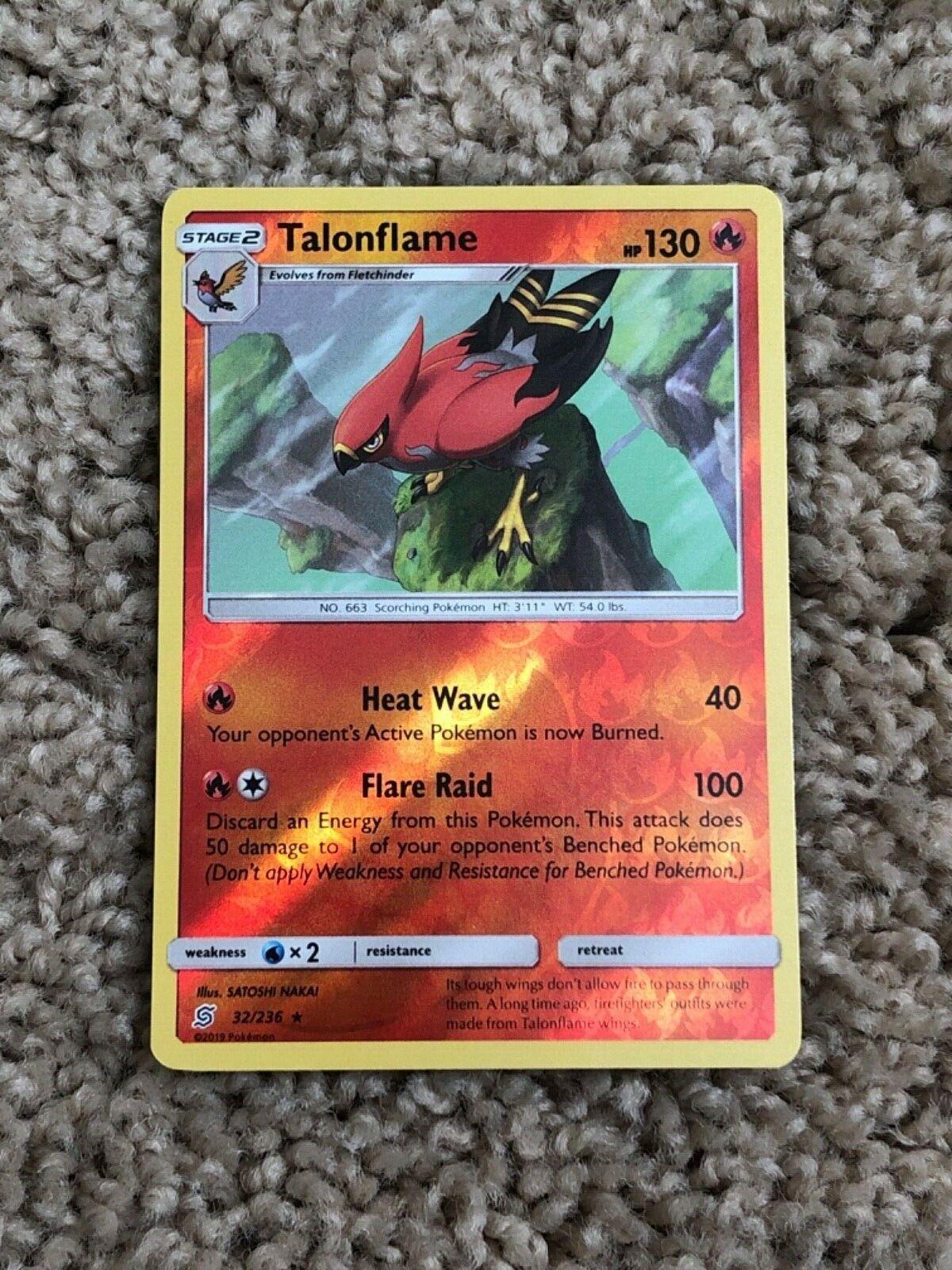 Talonflame - 32/236 Reverse Holo Foil Pokemon Card Unified Minds