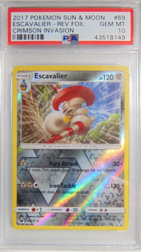 Escavalier 69/111 Crimson Invasion PSA 10 Gem Mint Reverse Holo Pokemon Card