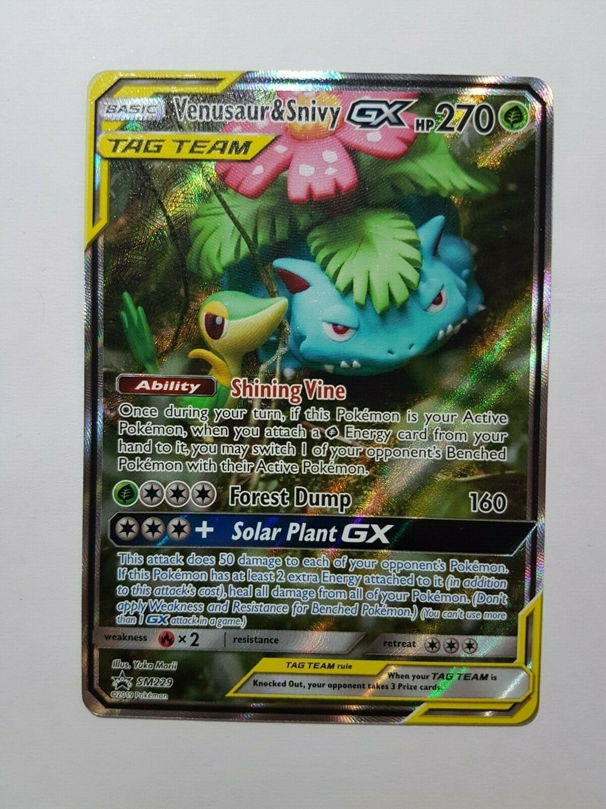 1 x Pokemon Venusaur /& Snivy GX SM Black Star Promo Sun /& Moon—Black S SM229