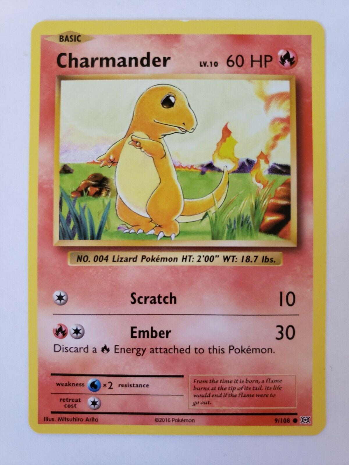 Charmander 9//108 Evolutions Reverse Holo Mint Pokemon Card