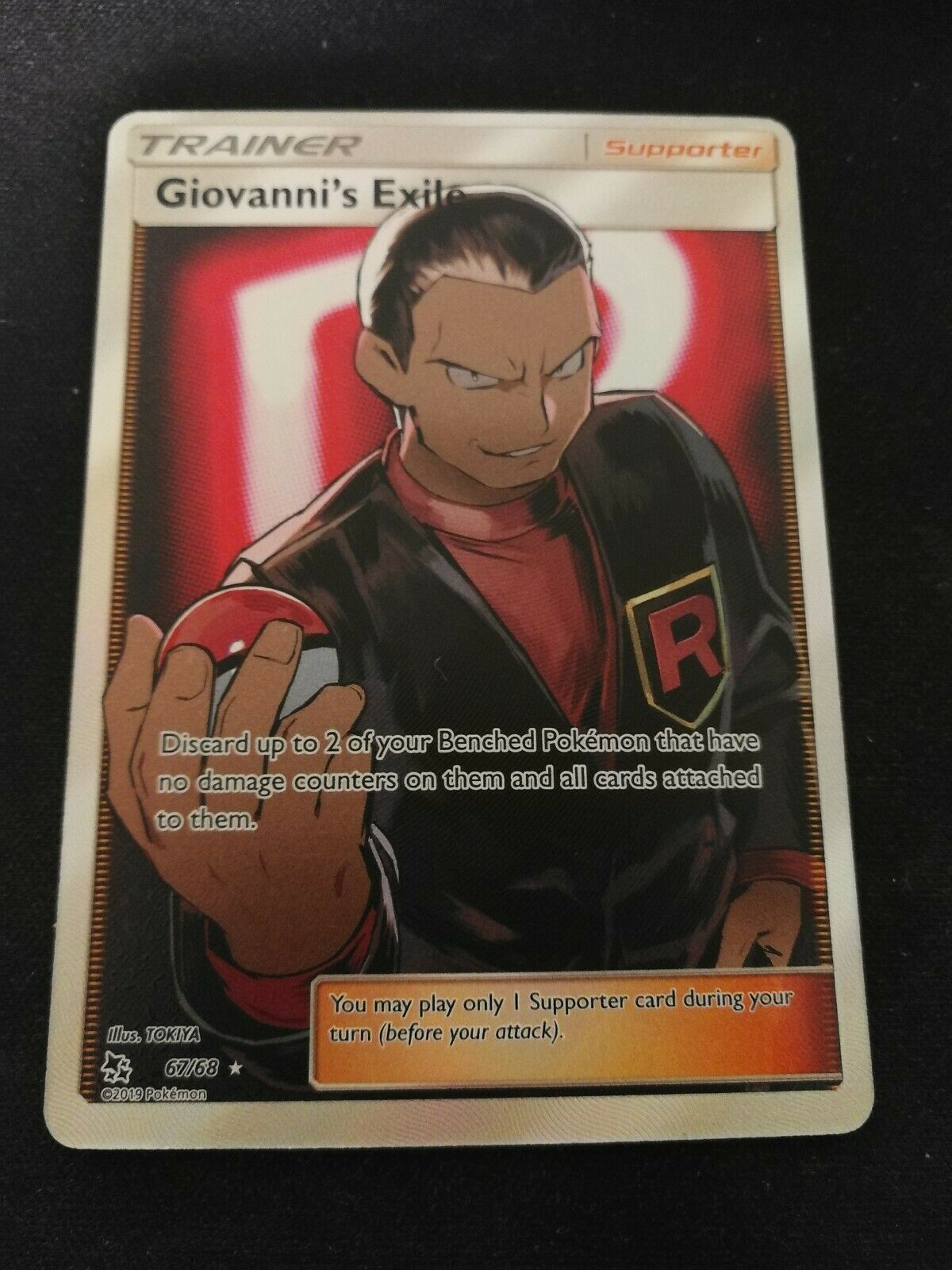 NM FULL ART Pokemon GIOVANNI/'S EXILE Card HIDDEN FATES Set 67//68 Giovanni Rare