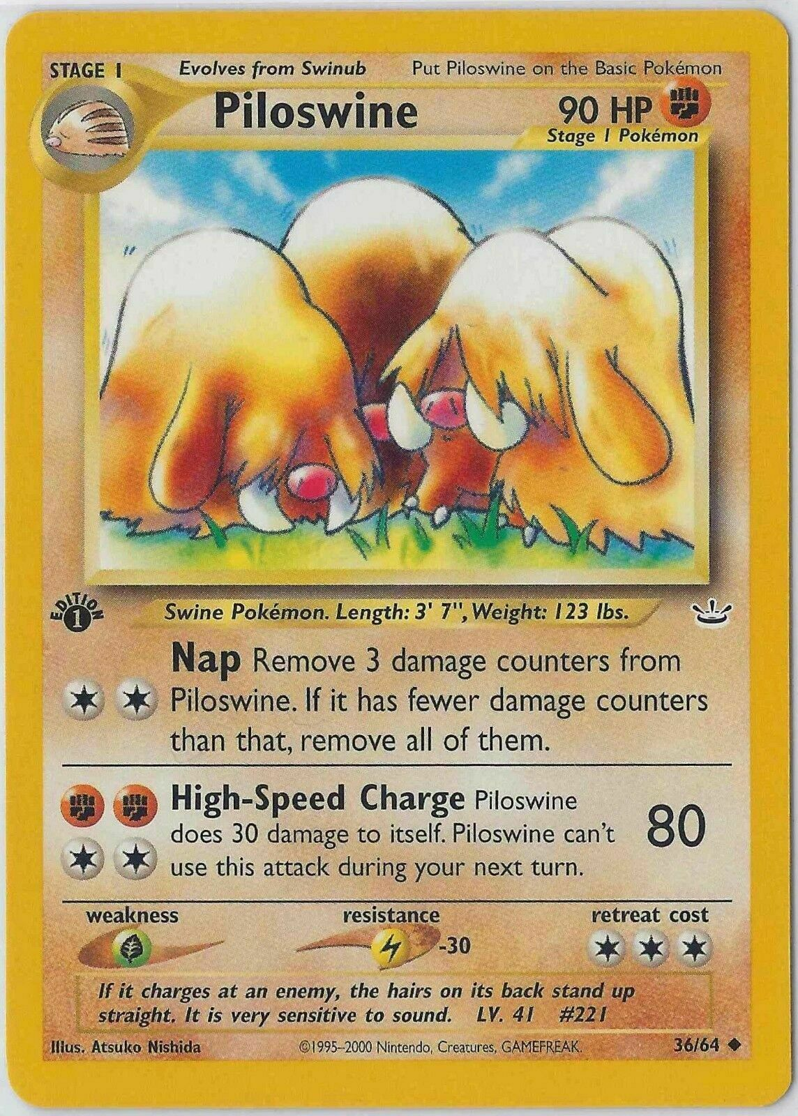 PILOSWINE 36//64 Neo Revelation ⎜1st Edition⎜ Uncommon M Pokemon Buy 4 Save 35/%!